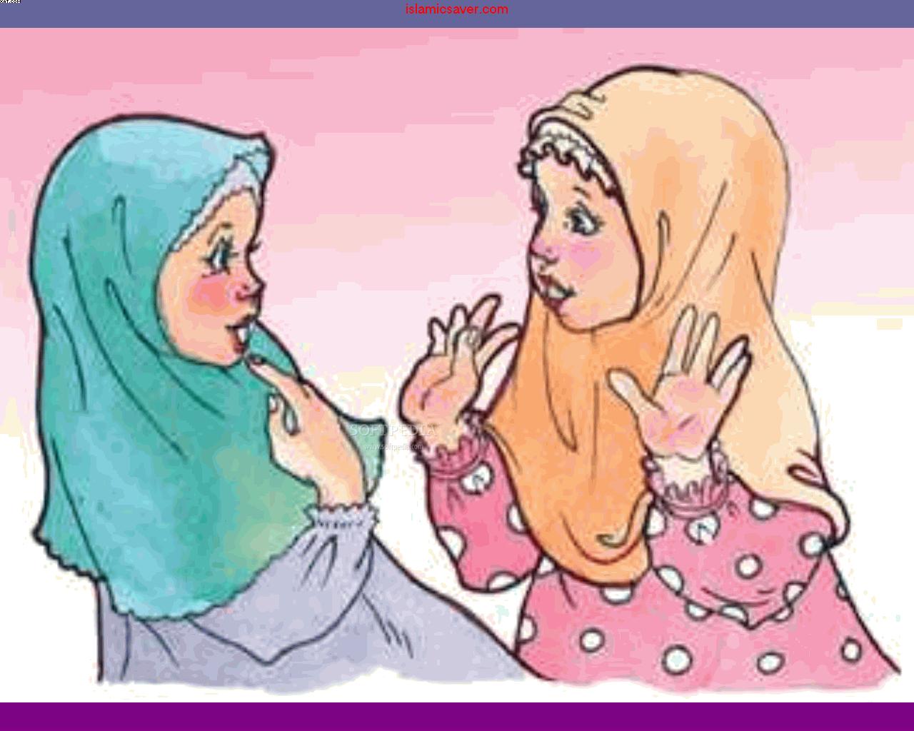 Gambar Kartun Ibu Dan Anak Berjilbab Keren
